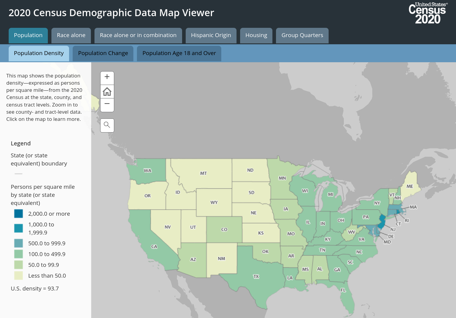 A screenshot from the 2020 Census Demographic Data Map Viewer
